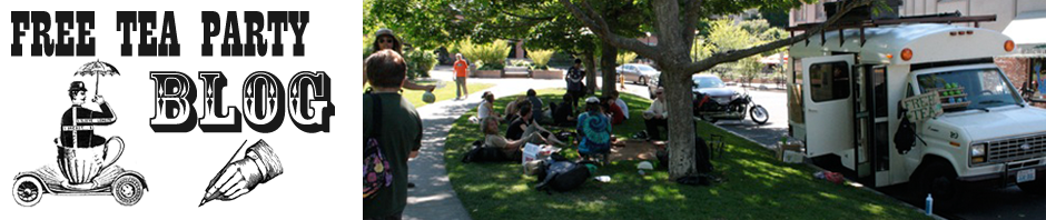 Guisepi gathers a crowd for tea near Edna Lu. Learn more at www.freeteaparty.org.